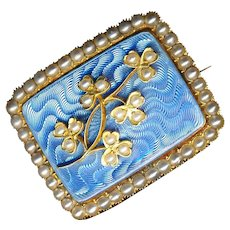 Brooch--Late 19th C. Blue Guilloche Enamel, Shamrocks, and Pearls in 14 Kt. Gold