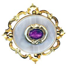 Brooch--Large Mid-19th C. Chalcedony and Amethyst in Gold-plated Brass