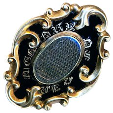 Brooch--Large Mid-19th C. Mourning Gold-plated Enamel Piece with Hair and Identity