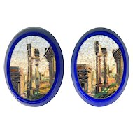Micromosaic Plaques--2 Roman Forum in Cobalt Blue Glass Base