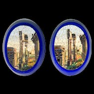 Micromosaic Plaques--2 Roman Forum in Cobalt Blue Glass Base
