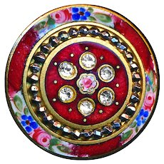 Button--Late 19th C. Large Jeweled C. Enamel Roses and Forget-me-nots