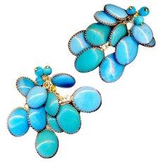 Earrings--Vintage 1950s Gripoix Glass in Filigree Brass Wire Marked France