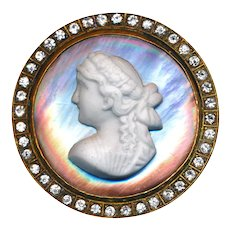 Button--Extra Large Late 19th C. Porcelain Head on Pearl in Rhinestones