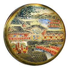 Button--Extra Large Late 19th C. Satsuma Pottery Architecture Scene
