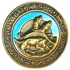 Button--Large Late 19th C. Brass and Mirror Steel 3 Bloodhounds