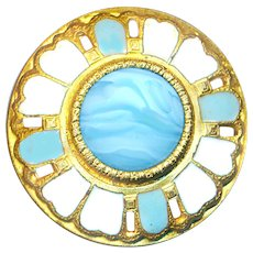 Button--Large Enameled Brass Dome with Slagged Aqua Glass Jewel