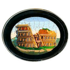Button--Large 19th C. Micromosaic Colosseum in Modern Sterling Silver