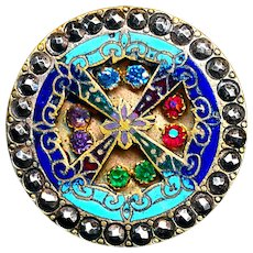 Button--Unusual Late 19th C. Compound Champleve Enamel Jeweled Brass