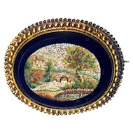 Brooch--Fine Mid-19th C. Micro Mosaic Micromosaic Impressionist Landscape of Rustic Bridge in 14 Karat Gold