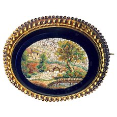 Brooch--Fine Mid-19th C. Micro Mosaic Micromosaic Impressionist Landscape of Rustic Bridge in 14 Karat Gold