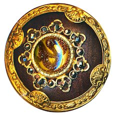 Button--Large Late 19th C. Faux Leather and Art Glass Jewel with Cut Steels