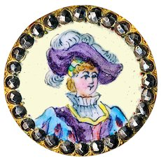 Button--Late 19th C. Emaux Peints Enamel Renaissance Boy in Plumed Hat with Cut Steels