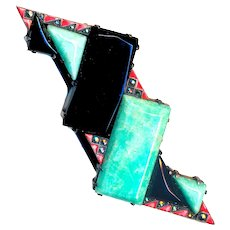 Brooch--Early 20th C. Germany Art Deco Sterling Silver, Amazonite, Onyx, Enamel & Marcasites
