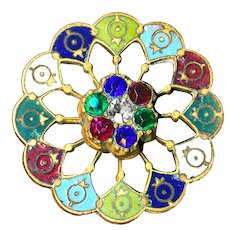 Button--Unusual Late 19th C. Open Work Brass Jeweled Enamel