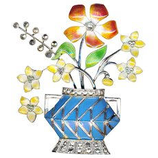 Brooch--Vintage Sterling Silver, Enamel, and Marcasite Flowers in Vase