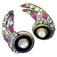 Earrings--Outrageous Unmarked Hobe Portrait Jeweled Vermeil & Black Glass