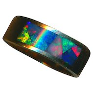 Ring--Heavy Wide 14 Karat Gold Band with Mosaic-like Inlaid Australian Firey Opal of Rich Vivid Hues