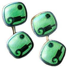 Cuff Links--Vintage Art Deco Krementz Green Enamel on Sterling Silver
