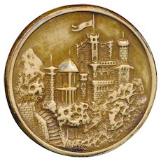 Button--Balmoral Castle Large 19th C. Sepia Tinted Ivoroid in Brass