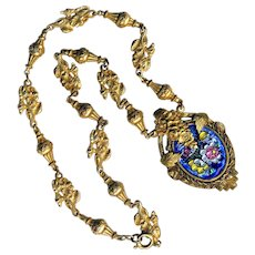 Necklace ~ Early 20th C. Limoges Enamel Pendant in Elegant Cast Floral Link Chain