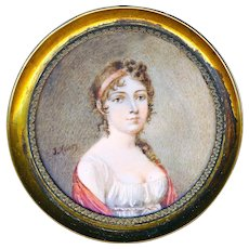 Portrait--Hand Painted Empire Period Lady Under Glass