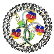 Button---Large Enamel Pansies in Double Steel Border Late 19th C. Open Champleve