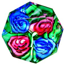 Button---Early 20th C. Lampwork Paperweight 4 Roses with Faceted Top
