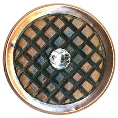 Button---Uncommon 18th C. Georgian Waffle Wood and Paste in Copper