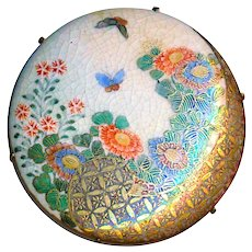 Button--Large Late 19th C. Satsuma Pottery Butterflies and Flowers