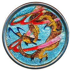 Button--Exquisite Late 19th C. Japanese Cloisonne Enamel Dragon in Silver Rim