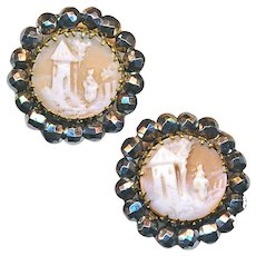 Buttons---2 Small Mid-19th C. Shell Cameo Scenes of Women Waiting in Cut Steels