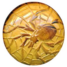 Button--Vintage 20th C. Pyrographic Spider Embossed on Wood