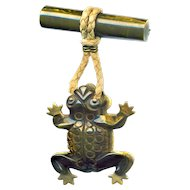 Brooch--Fun Stuff--Vintage Dangling Green Bakelite Froggie--Always Gets Attention