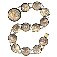 19th C. Satsuma Pottery Nature Scenes Necklace or Belt in White Metal