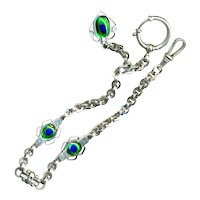 Double-sided Peacock Eye Glass & Bright Nickel Watch Chain  & Fob
