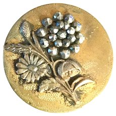 Button--Large Late 19th C. Engraved Brass & Bright Cut Steel Floral Escutcheon