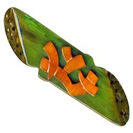Brooch--Large Vintage 20th C. Chinoiserie Green Bakelite with Amber Chinese Calligraphy (Make Believe)