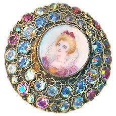 Button--Large Vintage Designer Hobe Portrait Under Glass in Jewels