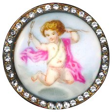 Button--Large Mid-19th C. Hand Painted Porcelain Cherub in Rhinestone Border