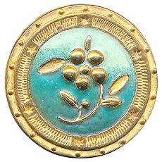 Button--Large Arts & Crafts Matte Ombre Enamel on Gilded Copper Flora-foliate