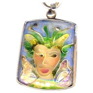 Necklace--Fine Cloisonne Enamel Fantasy Fairy--Modern Arts and Crafts by Susan G. Knopp