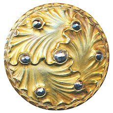 Button--Very Large Trefoil Rococo Brass Scrolls Like Seaweed with Cut Steels