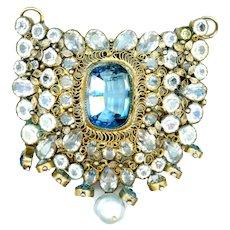 Brooch/Pendant--Old Hobe Jewels of Legendary Splendor Aquamarine Glass & Pearl