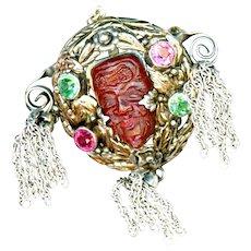 Brooch--Vintage Hobe Red Bandora Mask Jewels with Tassels