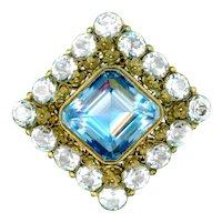 Brooch/Pendant--Vintage Hobe Huge Faux Aquamarine and Diamonds in Vermeil