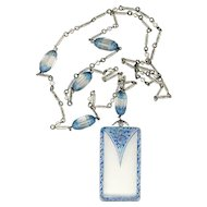 "Necklace--Vintage 1920s Pressed and Blue Tinted Glass Beads and Pendant on 28"" Chain"