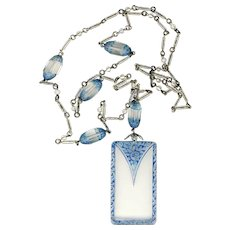 """Necklace--Vintage 1920s Pressed and Blue Tinted Glass Beads and Pendant on 28"""" Chain"""