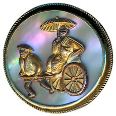 Button--Early 20th C. Gilt Brass On Pearl Chinese Rickshaw--Medium