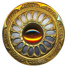 Button--Large Vintage Amber Glass Jewel in Brass and Steel